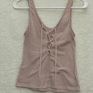 Lace up baby pink tank!